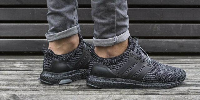 premium selection c30f3 fcd35 ⭐ Adidas Ultra Boost Triple Black 3.0 8 UK Silver Mens Trainers Running  BA8923