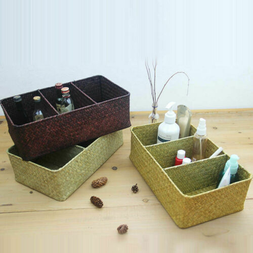 Vintage 3 Grids Seagrass Storage Basket Handmade Woven Box Fruit Snack Organizer