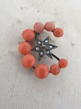 Victorian Silver Crescent Moon Star Coral Seed Pearl Brooch