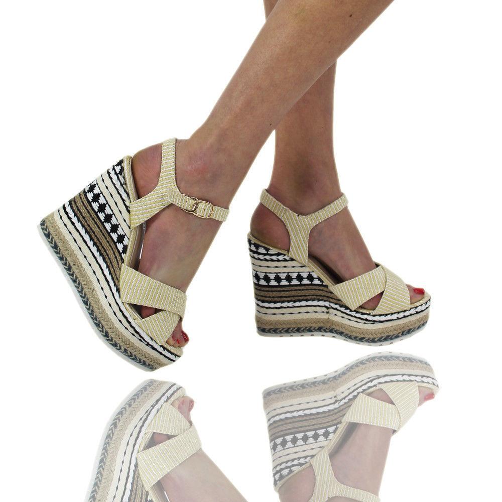 Ladies Womens Summer Platform High Heel Holiday Sandal Wedge Girls Shoes Size3-8