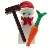 LEGO Christmas Snowman Minfigure With Santa Hat & Brush & Carrot NEW Xmas