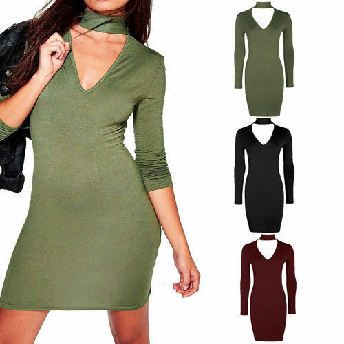 Womens Ladies Choker V Neck Bodycon Mini Midi Dress Plunge Long Sleeve