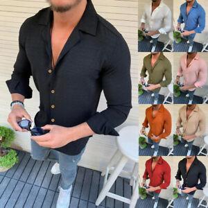 Fashion-Mens-Summer-Long-Sleeve-Linen-T-Shirt-Casual-Slim-Fit-Tops-Blouse-Shirts