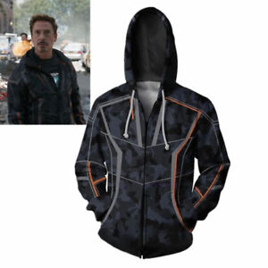 81cbe3a74 Image is loading Tony-Stark-Hoodie-Avengers-Infinity-War-Iron-Man-