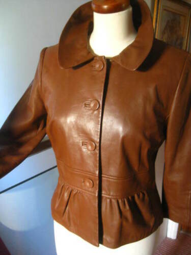 Leather Real Collection Tan Coat Uk Jacket M amp;s Ladies Limited Blouson 10 Brown AnSIOXxq
