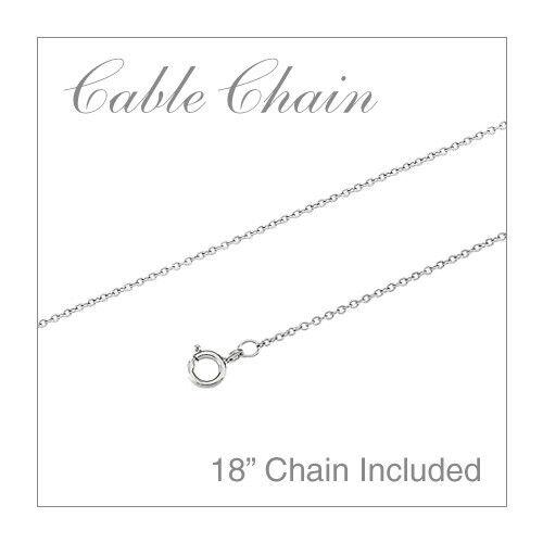 """14k White Gold Round Rhodolite Garnet Pendant with 18/"""" Chain"""