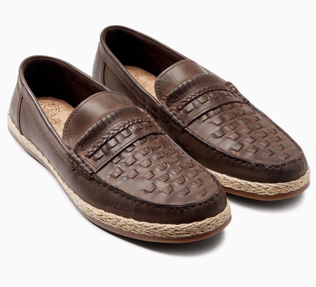 Siguiente para Hombre Marrón Tejido Yute Mocasines zapatos-Talla UK 8 EU 42
