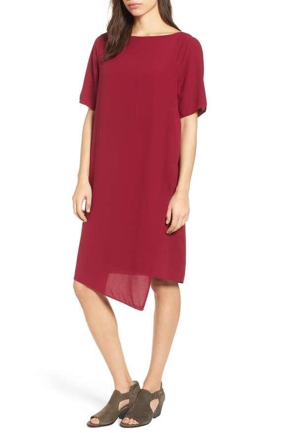 Eileen Fisher cambio  de seda asimétrico vestido túnica, XS NUEVO CON ETIQUETAS  358, Rojo Hibisco  los clientes primero
