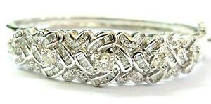 Round-amp-Baguette-Diamond-Bangle-18Kt-Solid-White-Gold-2-13Ct-H-I-VS2
