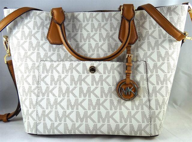 5e227c55531e Michael Michael Kors Greenwich PVC Signature Vanilla Large Grab Bag