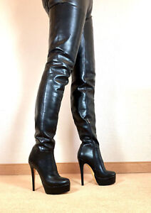 Gr-44-TOP-Exklusiv-Sexy-Damen-Schuhe-Overknee-Stiletto-Stiefel-Maenner-Boots-E9