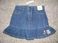 Gymboree bright Tulip Frog Blue Jean Skirt Size 9