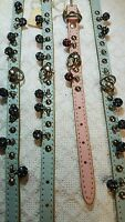 Dog Collars, Leather, With Studs And Rhinestone Disco Balls,