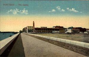 Port-Said-B-r-Sa-d-Agypten-Egypt-alte-AK-1910-Promenade-Esplanade-Casino-Hafen