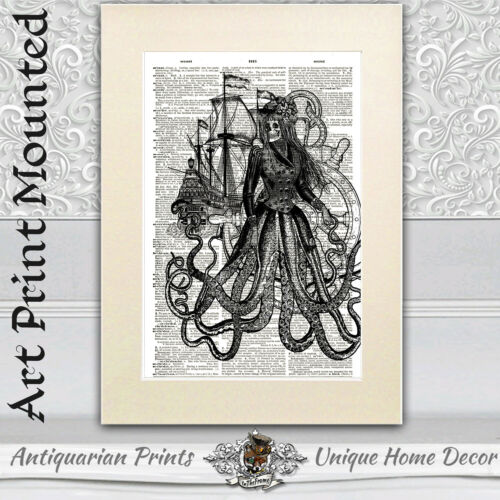 DICTIONARY ART PRINT ON ANTIQUE BOOK PAGE Bathroom Decor Goth Octopus Couple