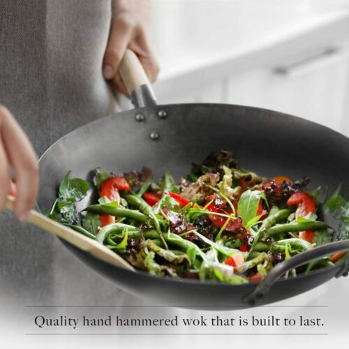 Traditional Hand Hammered Wok Flat Bottom Wok 14 Inch Carbon Steel Chinese Pow