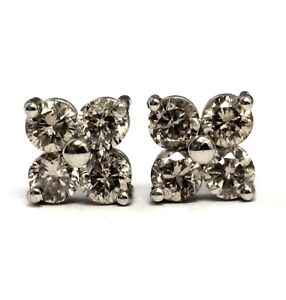 14k-white-gold-77ct-SI2-Brown-4-stone-diamond-stud-earrings-1-2g