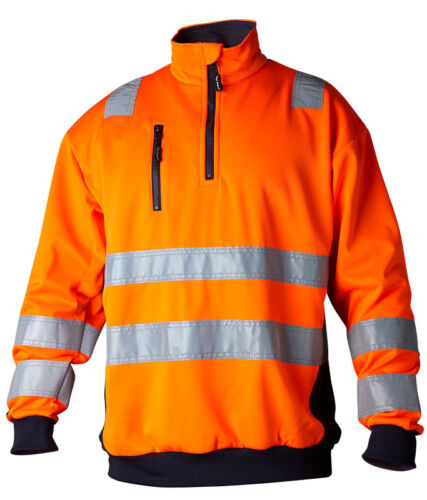 Prime Quality Orange Hi Vis Sweatshirt With Collar High Visibility Top Swede