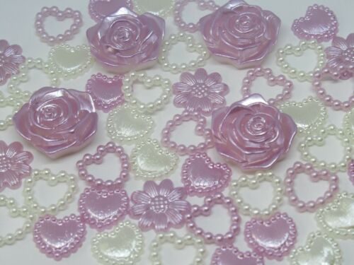50 Pearl Hearts Flower Ivory Mix Embellishments 10-17mm Scrapbooking Card