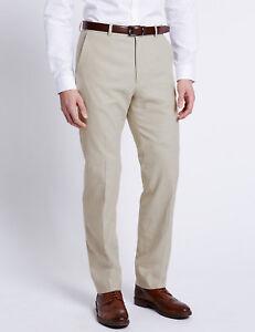 Para-Hombre-Ex-M-amp-S-Lino-Rich-Regular-Fit-Pantalones-Premium-MS46