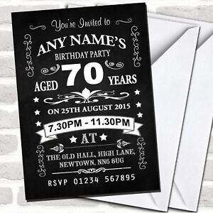 Image Is Loading Vintage Chalkboard Style Black And White 70Th Birthday