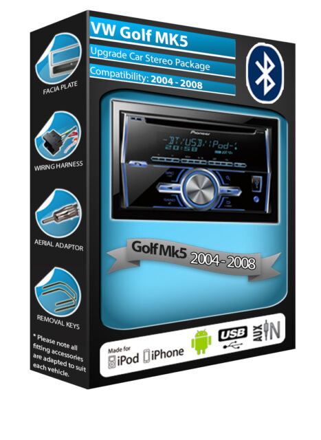 VW Golf MK5 car radio with AUX in USB player Pioneer plays iPod iPhone
