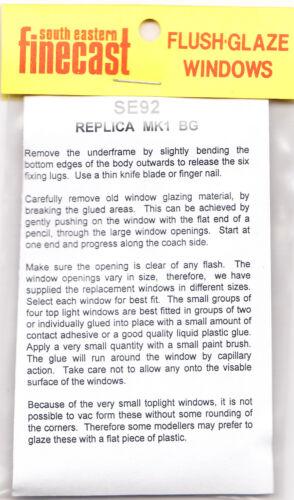 South Eastern Finecast SE92 Flush Glazing Kit for Replica BG Coach 00 Gauge 1st