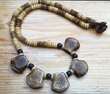 Lovely Chunky Carved Bead Bib Necklace/Stone/Brown/Ethnic/Tribal/Statement