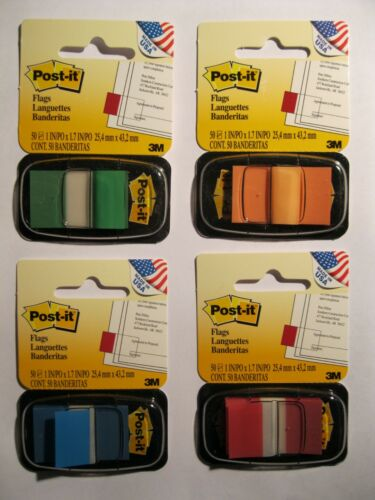 NEW 3M Post-It Note Flags Assorted Colors Green,Orange,Blue /& Red 200 Flags USA
