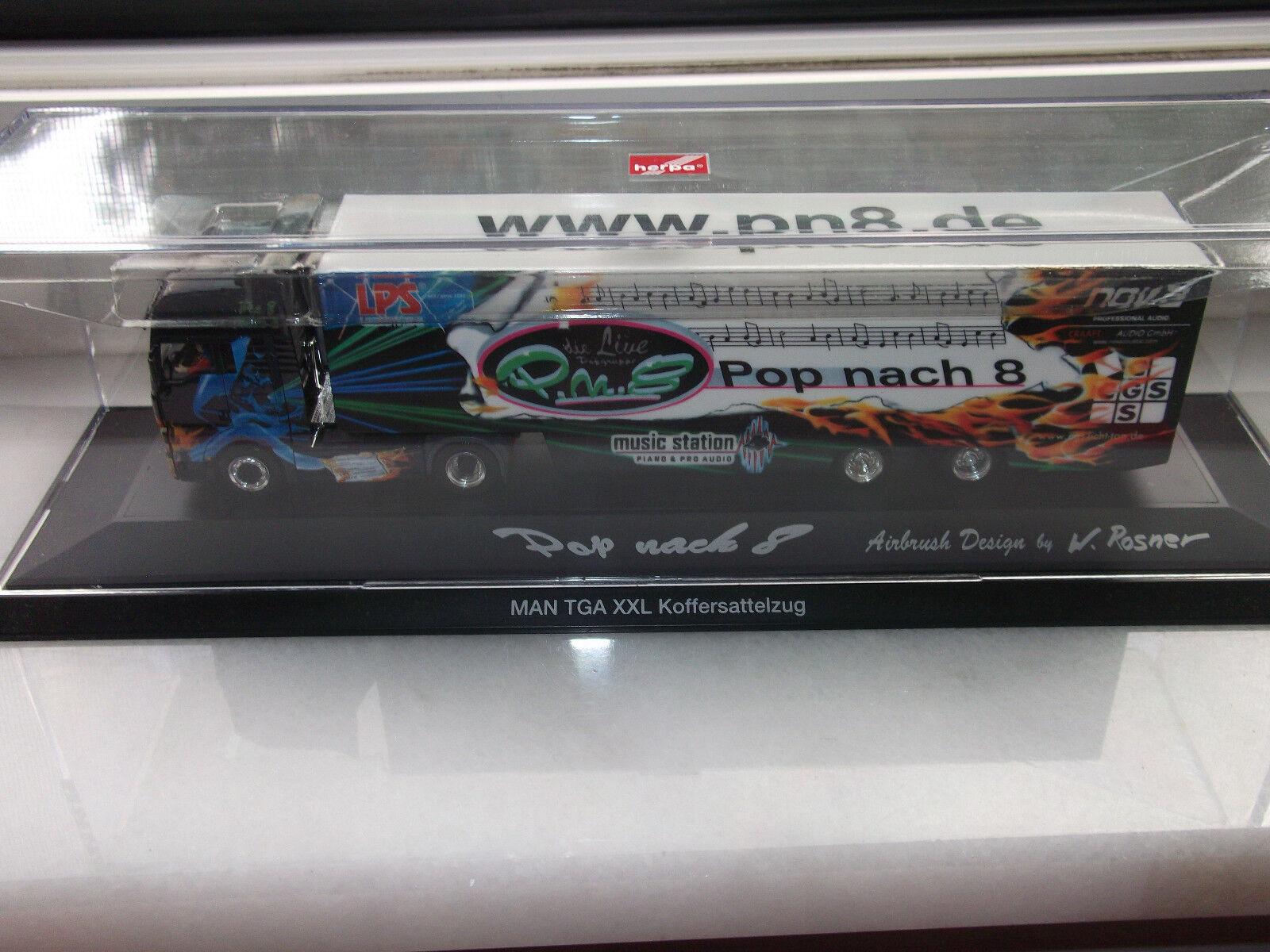 """Herpa  MAN TGA XXL  Koffersattelzug """"www.cgs-licht-ton  """" Pop nach 8 """" mit OVP"""