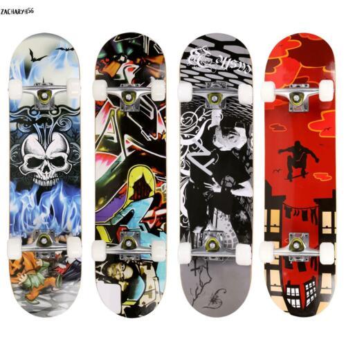 ANCHEER Holz Komplettes Skateboard PU Räder Komplett Board Schädel Skate-Board