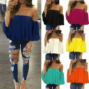 03f03dcd7214 Summer Women Long Sleeve Off Shoulder T-Shirt Tops Loose Chiffon ...