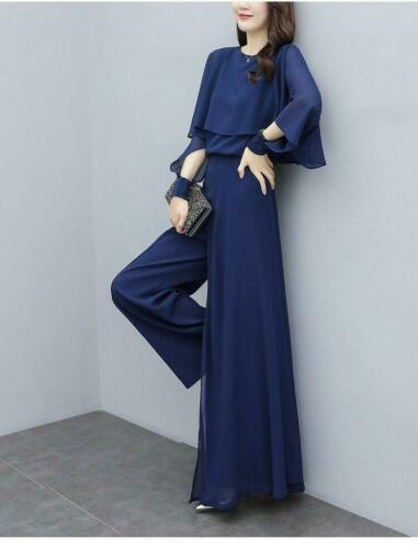 Women Sets Long Sleeve Ruffle Chiffon Tops And Wide Pants Two Pieces Fashion New