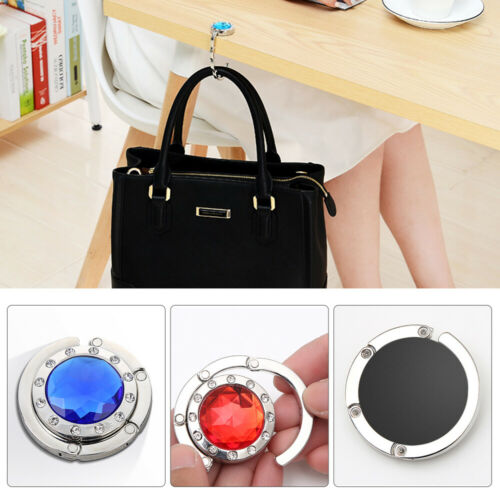 2X Portable Crystal Folding Section Purse Bag Handbag Hook Table Hanger Holder