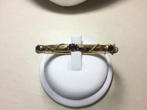 14K yellow gold Antique Amethyst Yellow Gold Bangle with Safety Chain