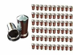 A Set of 60pcs Spike Chrome Color Lug Nut snap-on Covers for M22x1.5 Stud of Semi Truck 47215