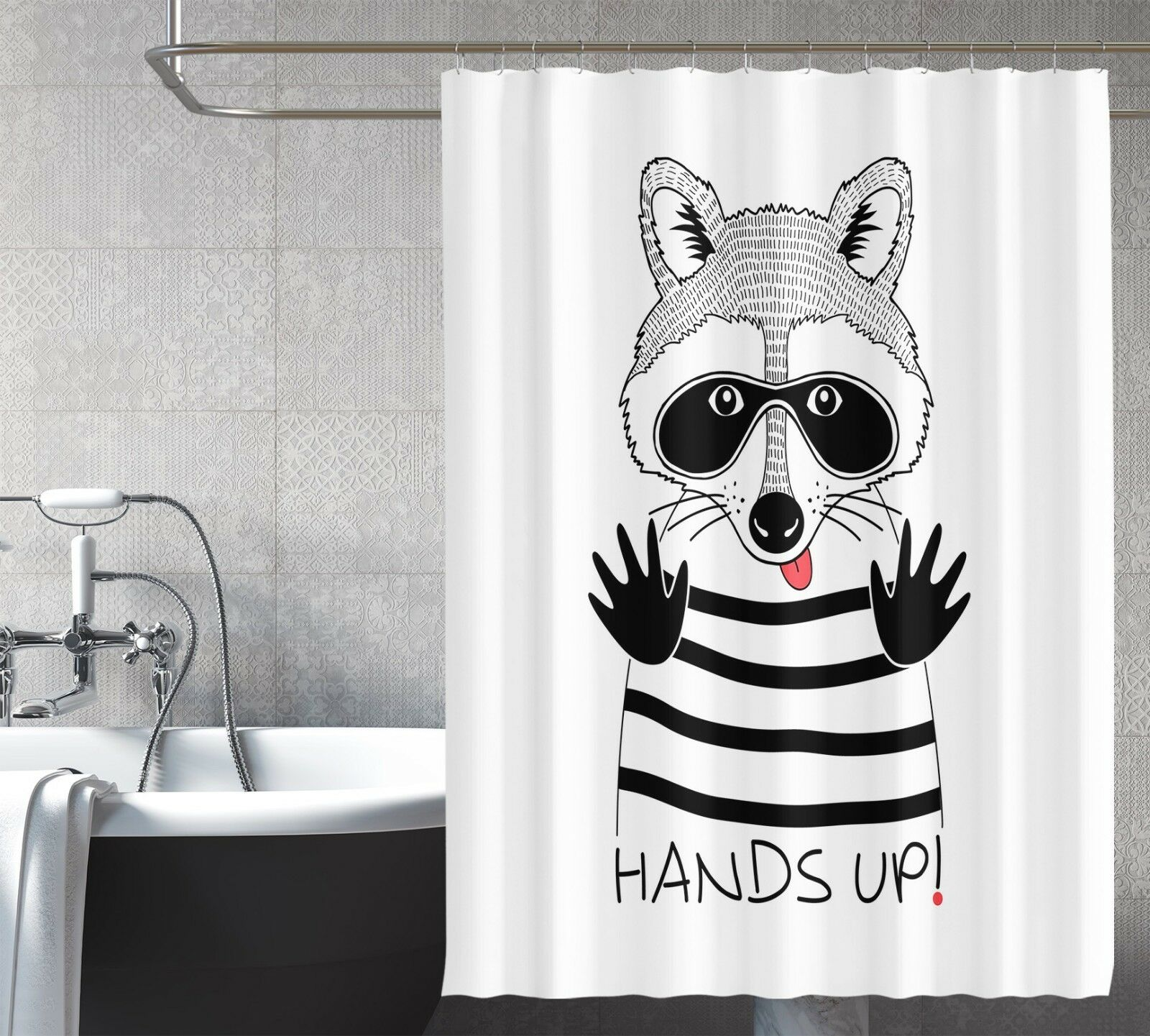 3D Raccoon Cartoon 8 Shower Curtain Waterproof Fiber Bathroom Windows Toilet 31398b