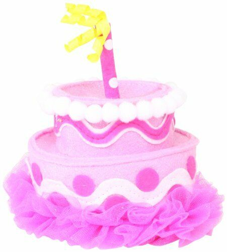 3f3a1a593e3 Mud Pie Party Time Girl Pink Felt Cake Headband Hat 173796 for sale online