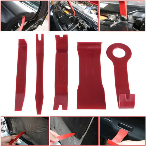 Red Nylon 5pcs Exterior//Interior Trim Door Panel Dashboard Centre Pry Open Tools