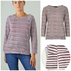 M-amp-S-Marks-and-Spencer-Burgundy-White-Boat-Neck-Stripe-Top-Raglan-Sleeve