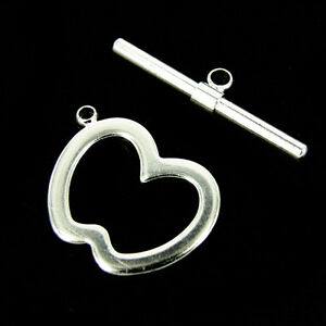Beading Silver Toggle Clasp,Silver Findings,Jewelry Findings 2 Sets Nickel Free Silver Plated Toggle Clasps T-size 24mm O-size 20mm