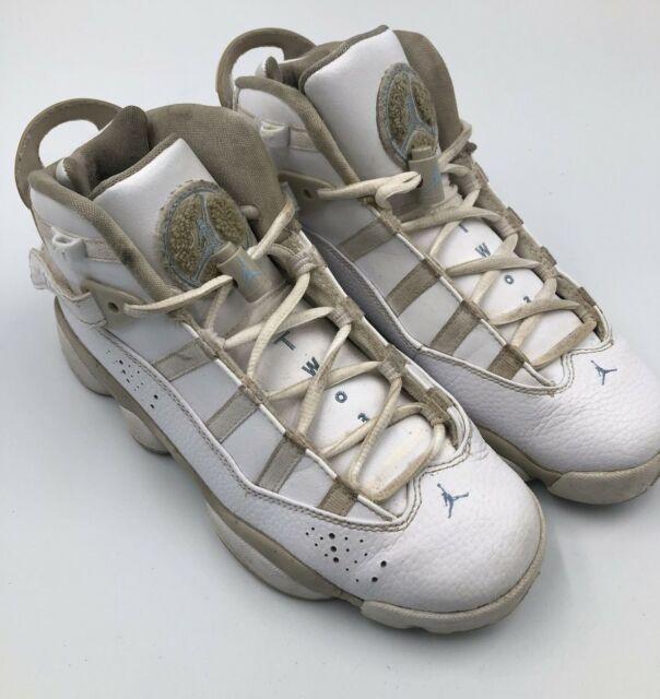 Nike Air Jordan 6 Rings GS Boys White Sand Leather Size 6Y Jumpman 323399 - 107