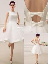 New White Ivory  Wedding Dress Tea Length Beach Custom Bridal Gown Custom Size