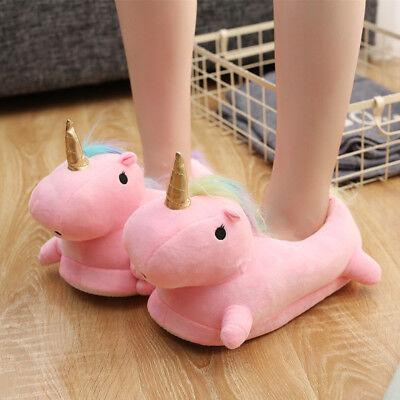 Damen Einhorn Hausschuhe Pantoffeln Puschen flauschig Plüschtier Schuhe Winter