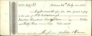 1848 Baltimore Maryland (MD) Contract N. W. Goldsborough Laughman Nicholson