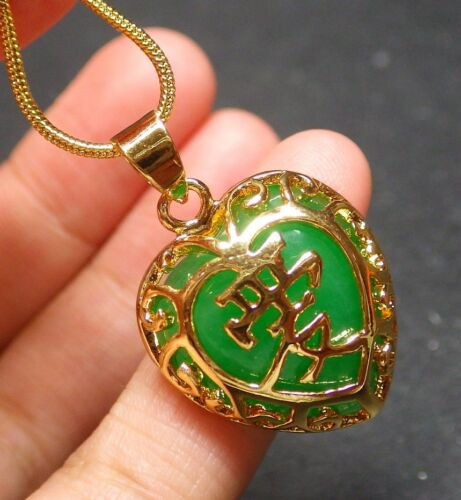 Yellow Gold Plate Green JADE Pendant Love Heart Necklace 310383