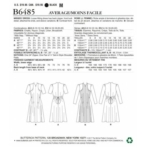 Butterick Sewing Pattern 6485 Misses/' Dress With Shoulder Bust Detail Waist Tie