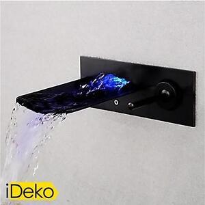 robinet lavabo led cascade mural noir mitigeur salle de. Black Bedroom Furniture Sets. Home Design Ideas
