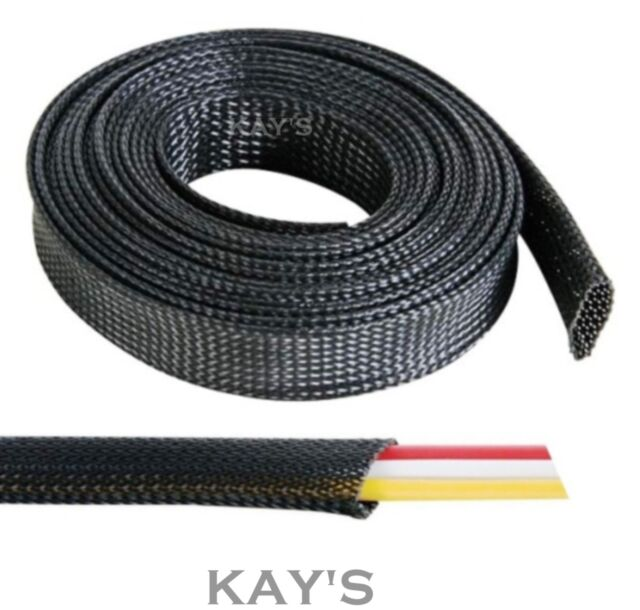 Black Braided Cable Sleeving/Sheathing - Auto Wire Harnessing, Marine Electrics