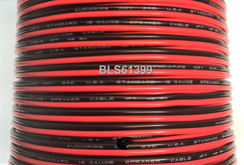 100/' ft Red Black 18 Gauge SPEAKER WIRE Cable Home Car Audio Wiring 12V DC Power